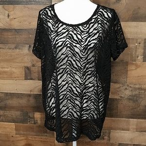 Attention sheer animal pattern top XL